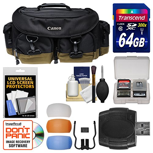 Canon 1EG Professional Digital SLR Camera Case - Gadget Bag with 64GB Card + Flash Diffusers + Kit