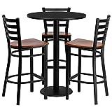 Dyersburg 4pcs Table Set Round 30'' Black Laminate, Cherry Metal/Wood Barstool
