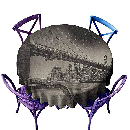 (ONECUTE Tablecloth for Kids/Childrens,New York Summer Night in Manhattan Brooklyn Bridge Park River Waterfront Modern City,Table Cover for Home Restaurant,47 INCH Dark Sepia Black)