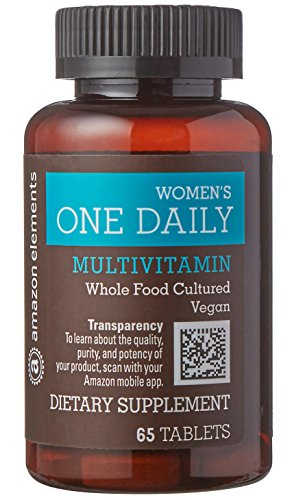 Amazon Elements Women's One Daily Multivitamin, 59% Whole Food Cultured, Vegan, 65 (Multi Element)