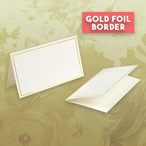 Pack of 100 Place Cards - Small Tent Cards with Gold Foil Border - Perfect for Weddings, Banquets, Events, 2 x 3.5 Inches by Best Paper Greetings (Image #4)