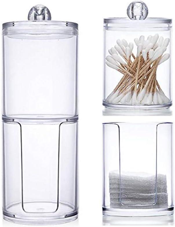 Transparente Caja de almacenaje Juxing Cajita de Almacenaje de para Bastoncillos de Algod/ón Transparente para Bastoncillos y Bolas de Algod/ón Organizador de Maquillaje