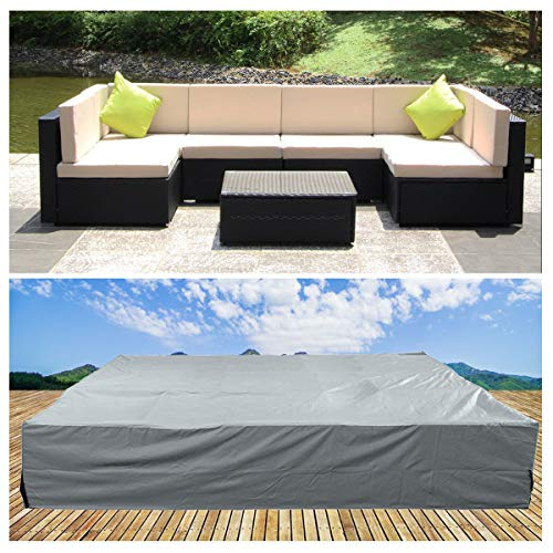 U-MAX Extra Large Rectangular Table Patio Furniture Covers Rattan Furniture Covers for Outdoor 7 Pcs Furniture Patio ()