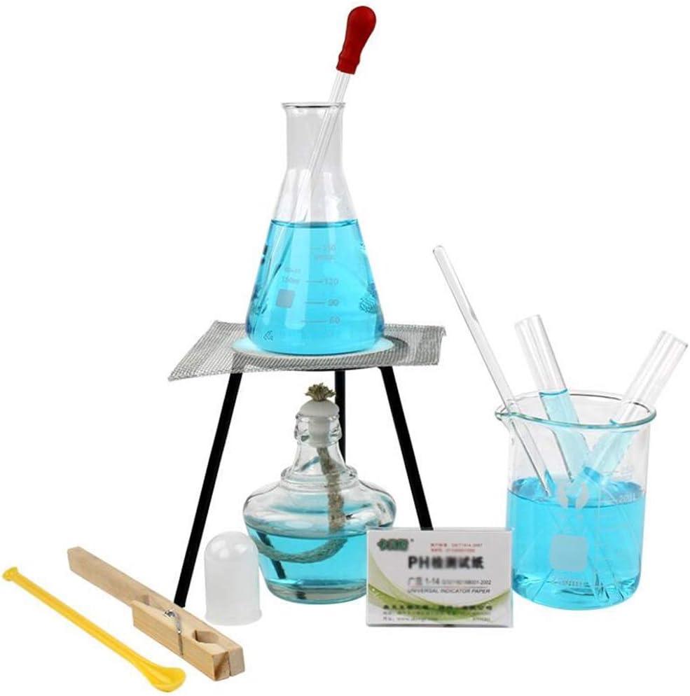 Riscaldamento Lampada Ad Alcool Insieme Treppiedi Esperimento Chimico Provetta Bicchiere di Vetro Contagocce da Laboratorio Vetreria Asta
