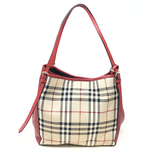 Burberry Women's Small Canter in Horseferry Check and Leather Beige Red Trim Burberry Purse
