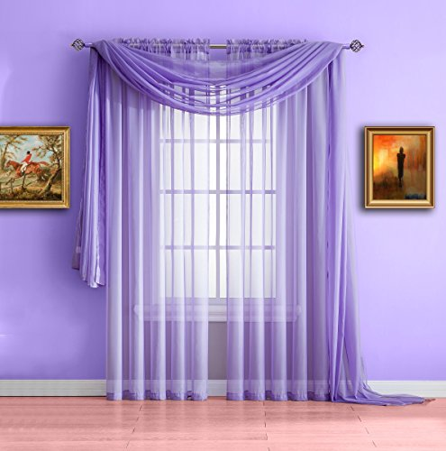 Purple Fabric Curtain (Warm Home Designs Pair of Standard Length Purple Lilac Sheer Window Curtains. Each Voile Drape Is 56 X 84 Inches in Size. Great for Kitchen, Living, Kids Room. 2 Fabric Panels. Color: Lilac 84)