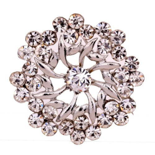 Yazilind Jewelry Silver Plated with Clear Iced Out Symmetrical Flower Style Brooches and Pins Vintage for Women