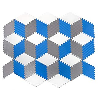 Tadpoles 36 Piece Rhombus Foam Play Mat Set, Blue/White/Grey