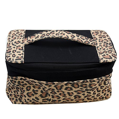 (Household Essentials Expandable Travel Bag with Mirror Leopard Print, Yellow/Black, One Size)