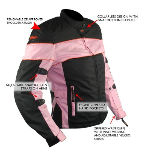 Xelement CF462 Womens Black/Pink Tri-Tex Fabric Motorcycle Jacket with Advanced - Medium by Xelement (Image #2)