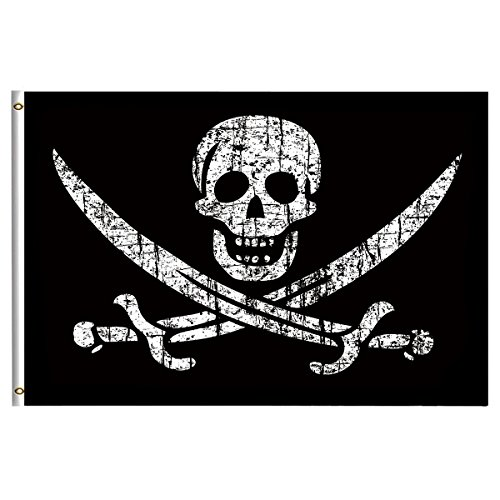 - Pirate Flags Jolly Roger Flag 4x6 Feet with Brass Grommet Double Stitch Pirate Jack Captain Skull Sword Banner Garden Flag Breeze House Decorations for Outdoor Home Boat Yacht Car