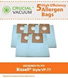 5 Vacuum Bags for Bissell VP-77 Power Partner & Power Partner Plus Canisters; Compare to Bissell Part No. 2032026; Designed by Crucial Vacuum