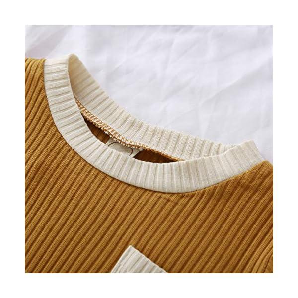 Geagodelia 2 Pezzi Set Completi da Neonati Manica Lunga Colore Semplice Classico Girocollo a Costine Top + Pantaloni con… 4