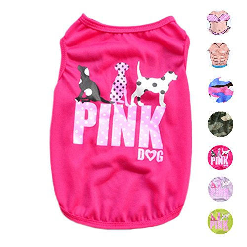 Dog Shirts Pet Shirts Dog T-shirt Puppy Dog T Shirt Dog Vest Puppy Vest Pet Clothing Puppies Clothes for Small Dogs Doggie Tee Summer Apparel Female Dog Shirt Beach Wear (Magenta Apparel)