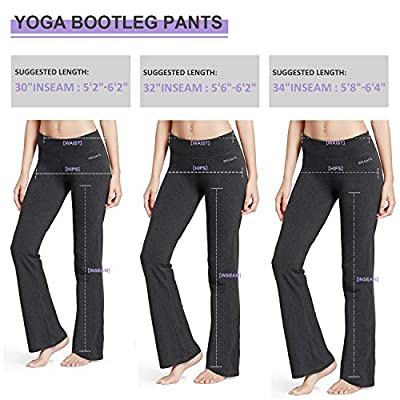 Amazon.com : BALEAF Women's Bootcut Regular/Tall High Waisted Yoga Pants Bootleg Workout Indoor Pants Inner Pocket : Clothing