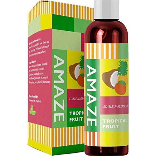 Edible Massage Oil and Lubricant for Women and Men - Tropical Fruit Massage Oil with Coconut Oil + Sweet Almond Oil + Jojoba Oil for Anti-Aging + Anti-Cellulite Skin Benefits - Relax Muscles & Joints