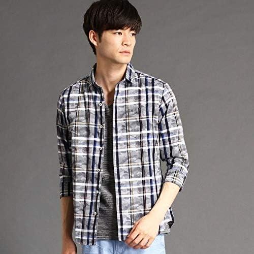 (NICOLE CLUB FOR MEN) ジャカードチェック柄七分袖シャツ