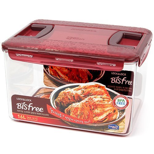Lock & Lock Bisfree Airtight Square Stackable Deep Kimchi Container 12 L , Two Handle , Red