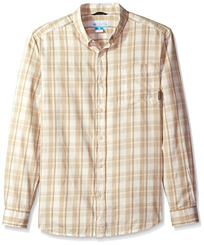 Columbia Men's Out and Back Ii Long Sleeve Shirt, Chalk Shadow Plaid Small - Shirt Plaid Shadow