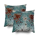 Musesh Pack of 2 turquoise and brown cowhide print Cushions Case Throw Pillow Cover For Sofa Home Decorative Pillowslip Gift Ideas Household Pillowcase Zippered Pillow Covers 20X20Inch