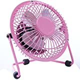 4 Inch Electrical Mini USB Table Desk Personal Cooling Fan Office Fans with 360 Rotation (Pink)