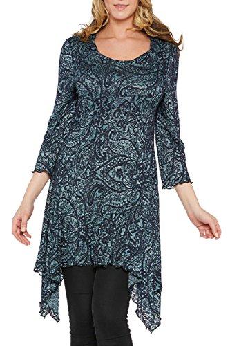 Kaktus Women's Asymmetrical Embroidered Paisley Plus Size...