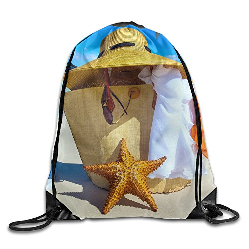 Beach Vacation 100% Polyester Fiber Drawstring Backpack Bag One Size