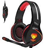 SL-100 Xbox One (S) PS4 Stereo Gaming Headset Lightweight, Over Ear Headphones with Mic for Xbox 1 Playstation 4, PC/Laptop/Mac Games, Comfy Earmuffs, Noise Isolation, Bass Surround, LED Light, Red