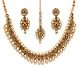 Bindhani Indian Bollywood Gold Plated Kundan Bridal Wedding Necklace Earrings Tikka Jewelry Set for Women