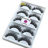3D Real Mink False Eyelashes LASGOOS 100% Siberian Mink Fur Luxurious Wispy Natural Cross Thick Long Wedding Fake Eye Lashes 5 Pairs/Box MY-0145