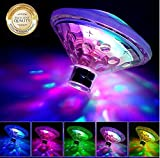 WISSBLUE Waterproof Swimming Pool Lights Floating Underwater LED Pond Lights for Hot Tub, Baby Bathtub, Fountain, Pool Party or Pond Decorations - 7 Modes, Waterproof, Battery Operated