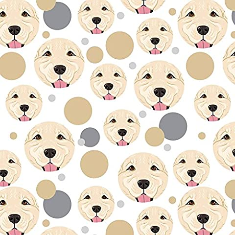 Premium Gift Wrap Wrapping Paper Roll Pattern - Dog Puppy - Golden Retriever Face Light White - Golden Retriever Wrapping Paper