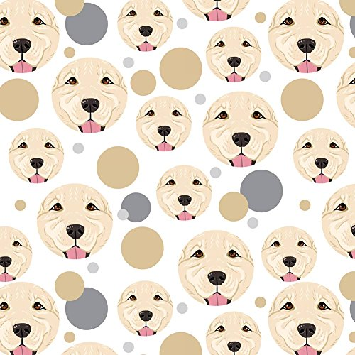 Golden Wrap (Premium Gift Wrap Wrapping Paper Roll Pattern - Dog Puppy - Golden Retriever Face Light White)
