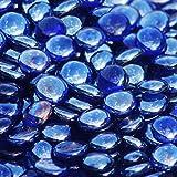 Blue Ridge Brand™ Dark Blue Reflective Fire Glass Beads - 5-Pound Professional Grade Fire Pit Glass - 3/4'' Reflective Glass Fire Pit Landscaping