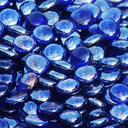 Blue Ridge Brand™ Dark Blue Reflective Fire Glass Beads - 3-Pound Professional Grade Fire Pit Glass - 3/4