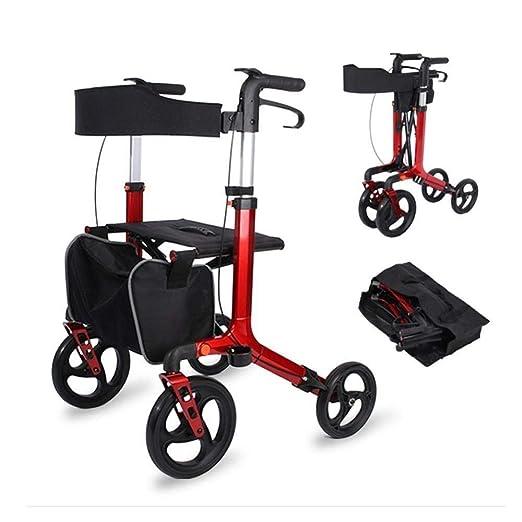 HHXX Andador con Ruedas Plegable, Altura Ajustable 4 Ruedas Carro ...