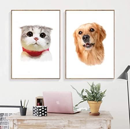 SCLPOSTER Cartel Animal Kawaii Gato Perro nórdico e Imprimir ...