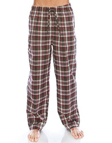TINFL Boys Plaid Check Soft 100% Cotton Lounge Pants YP-37-Brownred-XL