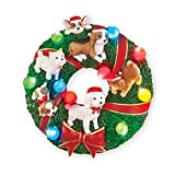 Collections Etc Holiday Dog Wreath Sculpted Lighted Wall Decoration