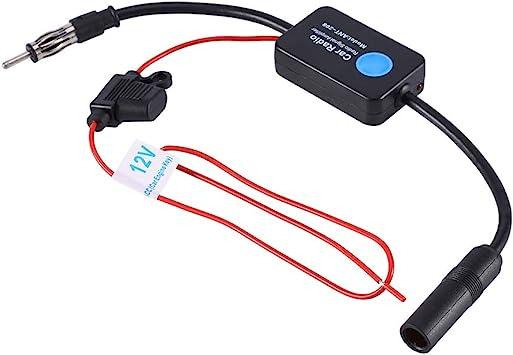 Amplificador de Antena Coche, Amplificador de Señal Universal 12V Antena FM AM Radio