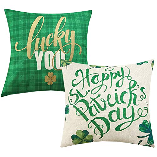 Anickal St Patricks Day Decorations Set of 2 Decorative Pillow Covers Happy St Patricks Day Green Shamrock Clover Lucky You Pillow Cases 18 x 18