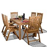 Amazonia Teak Bucarest 7-Piece Teak Rectangular Dining Set