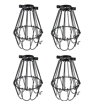Set of 4 Industrial Vintage Style Black Hanging Pendant Light Fixture Metal Wire Cage , Lamp Guard, Adjustable Cage Openings to Different Styles …