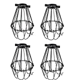 Set of 4 Industrial Vintage Style Black Hanging Pendant Light Fixture Metal Wire Cage, Lamp Guard, Adjustable Cage Openings to Different Styles (Black)
