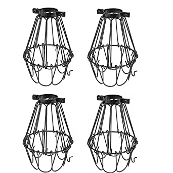 Set of 4 Industrial Vintage Style Black Hanging Pendant Light Fixture Metal Wire Cage , Lamp Guard, Adjustable Cage Openings to Different Styles (Black)
