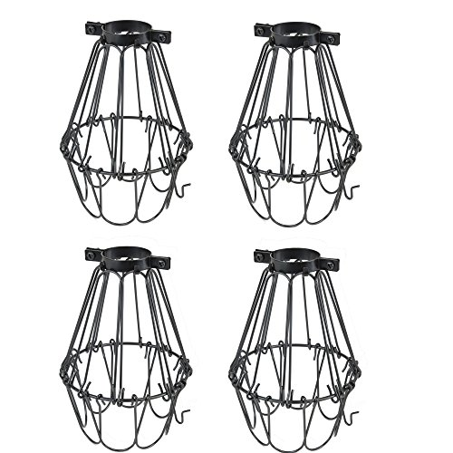 (Rustic State Set of 4 Industrial Vintage Style | Hanging Pendant Metal Wire Cage | Adjustable Light Fixture Lamp Guard (Black))