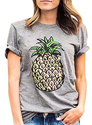 Sleeve Tee Grey Achicgirl Pineapple Printed Pullover Women's Short YnxfwY0