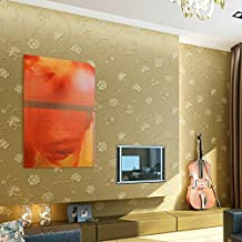 CNMKLM Sprinkle gold non-woven wallpaper-style simplicity yarn rattan flower wallpaper bedroom background wallpaper , meters yellow