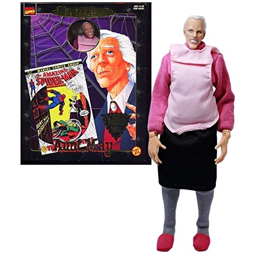 Amazing Spider Man Peter Parker Costume (ToyBiz Year 1997 Marvel Comics Famous Cover Series 8 Inch Tall Ultra Poseable Action Figure - The Amazing Spider-Man Peter Parker's AUNT MAY with Authentic Fabric Costume)
