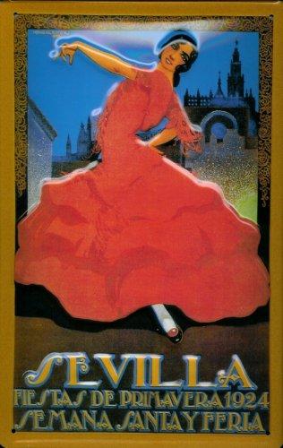 Diseño de bailarina con vestido rojo diseño Sevilla España cartel de chapa